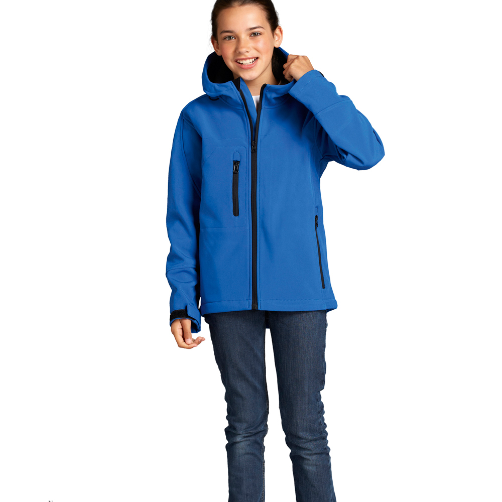 Kids Suzuki Ecstar softshell team jacket with shaped contrast panels, polyester outer with bonded fleece inner. Features contrast detail zip pockets, velcro adjustable cuffs and fully embroidered throughout with the official team logos and sponsors.